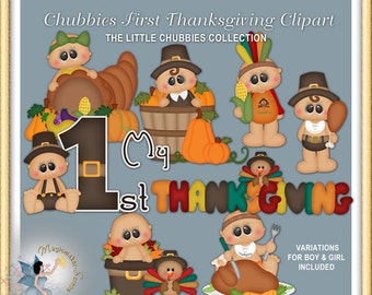 Baby Clipart, Chubbies First Thanksgiving