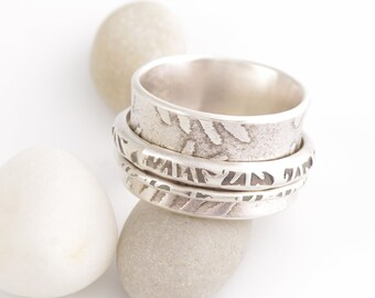 Chunky and Tribal Silver Spinner Ring