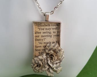 Recycled paper jewellery, recycled jewellery, recycled paper, paper jewelry, literary jewelry, literary gifts, book lovers gift, Jane Austen
