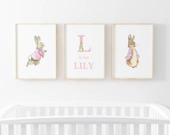 Baby girl Peter Rabbit Beatrix Potter nursery print | bunny prints | rabbit nursery art | gift | present | pink and white