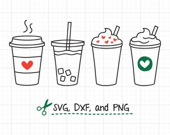 Coffee SVG Cute Iced Coffee To Go Line Art SVG DXF Cut Files for Cricut or Silhouette Clipart Clip Art
