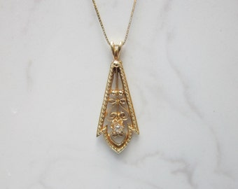 Vintage Ornate 14k Solid Yellow Gold and Diamond Pendant and 18 inch Box Chain // Vintage Necklace //