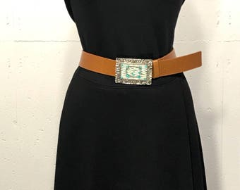 Vintage Leather Belt, Western style belt buckle, Boho leather belt, Streets Ahead leather belt