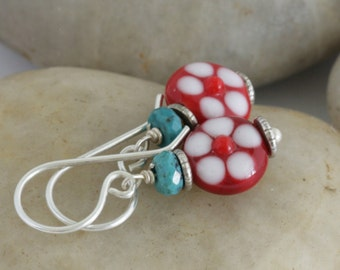 Red Flower Lampwork Glass Turquoise Sterling Hill Tribe Silver Drop Earrings // Handcrafted Jewelry // luluglitterbug