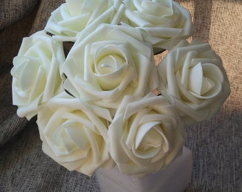 100 pcs Ivory Roses Wedding Artificial Flowers Fake Foam Roses Floral Wedding Table Centerpiece Decor Flowers Supplies LNPE004