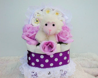 Plush Purple Lamb Baby Carriage Diaper Cake With Onesie