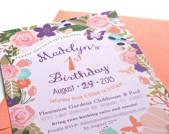 Floral Butterfly Garden Birthday Invitation **envelopes included**