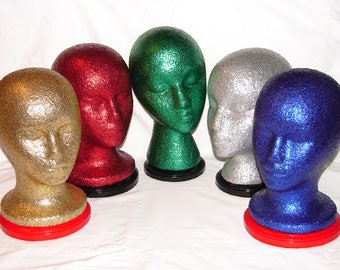 One (1) Glitter & Bedazzled Mannequin Head for Hat Display/Headband Display or Home Decor