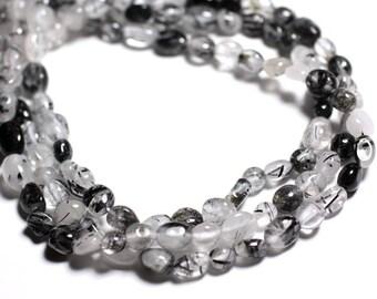 10pc - stone beads - 4-9mm 4558550024084 Tourmalated Quartz