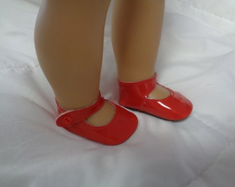 "Red Patent Leather Mary Jane Doll Shoes for 18"" Dolls- Fits American Girl Dolls"
