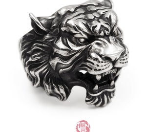 Sterling Silver 925 Tiger Ring, With Aged Finish, Oxidized Silver, Songyan Jewelry