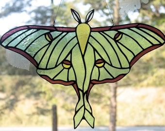 Stained Glass Luna Moth, Stained Glass Moth, Wildlife Art, Stained Glass Window Panel, Glass Art, Wildlife Art, Gifts for Her
