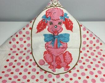 vintage pink poodle and polka dots linen kitchen towel