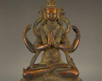 N4759  Tibet Gilt Gold Bronze Four Arms Kwan-yin Statue