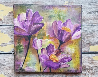 "Original Floral Painting | Flower Art | Original 8x8 Canvas | Wildflower Art | Purple Flower Painting | ""Wildflowers"" 