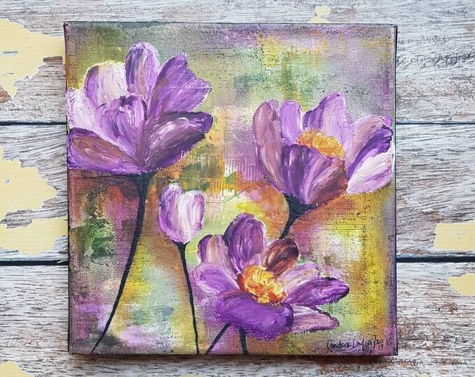 "Original Floral Painting   Flower Art   Original 8x8 Canvas   Wildflower Art   Purple Flower Painting   ""Wildflowers""   Saltons Cove Studio"