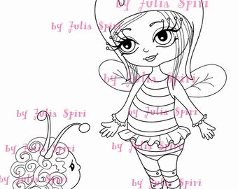 Digital Stamps, Digi stamp, Coloring pages, Girl stamp Bee, Fantasy Child stamp Scrapbooking. The Garden Dwellers Collection. The Little Bee