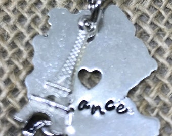 France, Stamped, Eiffel Tower charm, France charm , Necklace, charm necklace, sterling silver chain