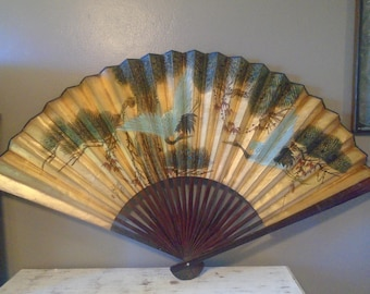 """Large vintage blue and brown Chinese paper and wood decorative fan / Asian wall art 51"""" wide with  birds / vintage accordion Chinese fan"""
