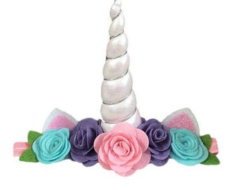 Unicorn Headband, Pink Unicorn Headband, Unicorn Flower Headband, Girls Unicorn Headband, Unicorn Horn, Pastel Flower Unicorn Headband