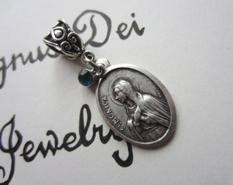 St Monica Medal & Turq Glass Charm Pendant, Patron Saint for Difficult Marriages - Alcoholics - Married Women - Victim of Abuse