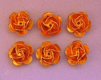 Flower Rosette Beads Brass - 11mm - 12 Pieces - Destash