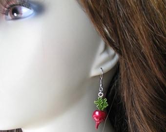 Luna Inspired Dangle Radish Earrings, Lovegood, Potter Inspired, Radishes, Vegan, Vegetable Earrings, Farmer, Witch