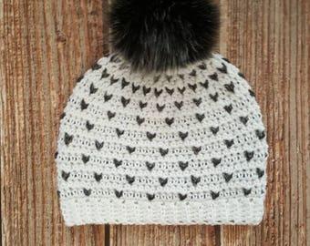 pom pom hat, faux fur pom pom hat, crochet women's hat, winter beanie, women's holiday gift