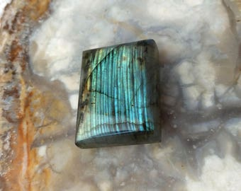 Labradorite Stone,  CLOSE OUT (25mm x 19mm) Marked Down Gemstone, Stone Cab, Turquoise Toned Labradorite, Rectangle, Sale, Destash, Cabochon