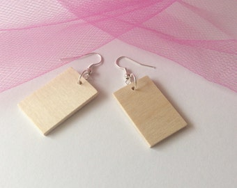 Unfinished wooden earrings / rectangle wooden  blanks/ 5 pairs / do it yourself jewelry / wood circles