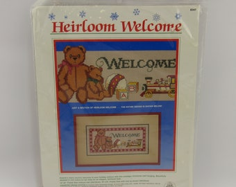 """Heirloom Welcome Teddy Bear Counted Cross Stitch Kit NEW 1987 Dimensions 10x16"""""""