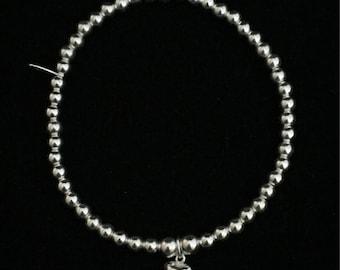 Sterling Silver Skinny Mini Heart Bracelet