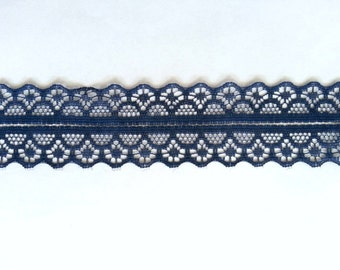 """10 Yards of Navy Lace Trim/ Lace Ribbon 1.1"""" (2.8 cm)"""