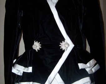 Vintage Art Deco Women's Dress XL Jacket Black Velvet White Satin Rhinestone Jewelry Great Gatsby