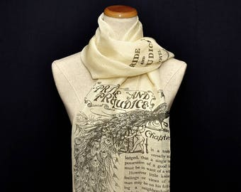 Pride and Prejudice Chiffon scarf, summer scarf, light scarf, Spring scarf