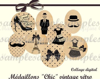 Digital collage sheet circles vintage digital images, one inch circle, digital rounds and oval, Paris, Eiffel tower, instant download
