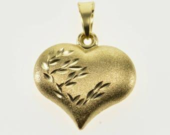 14k Diamond Cut Leaf Design Pitted Texture Heart Charm/Pendant Gold