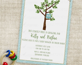 Owl Baby Shower Inviation Family Tree Baby Boy Blue Dots Printable Personalized Custom Digital File with Professional Printing