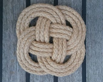 Nautical Rope Knot Coasters. Natural Jute Rope, Hand Sewn. Sets of 4, 6 or 8 Coasters. Rustic knot mats. No glue used.