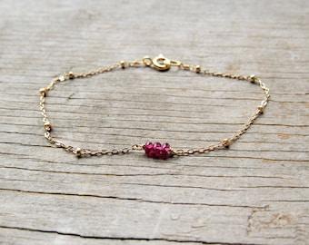 triple GARNET bracelet on a delicate gold filled satellite chain January birthstone beaded bar dainty gemstone minimalist