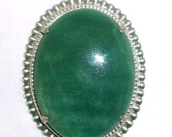 Vintage Large Jade and Uncas Sterling Silver Beaded Pendant  - Estate Find