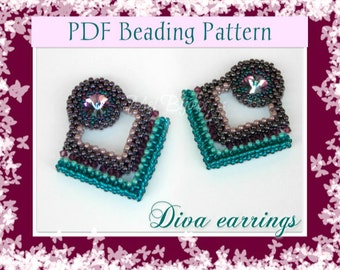 DIY Beading pattern Diva earrings / PDF tutorial with detailed instructions, images and diagrams / Cubic Right Angle Weave / RAW 3D