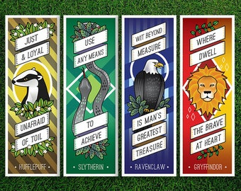 Long Bookmark | Gryffindor Hufflepuff Ravenclaw Slytherin Hogwarts Houses Bookmarks Pack of 4 Sorting Hat Quidditch Harry Potter Bookmarks