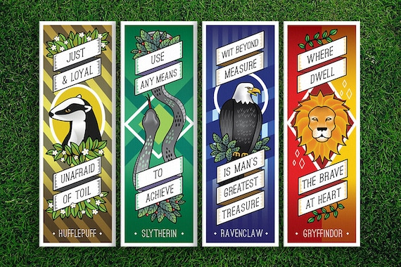 Long Bookmark Gryffindor Hufflepuff Ravenclaw Slytherin