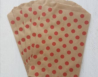 "25 Flat Kraft Red Polka Dot Paper Bags-5""X7.5"""