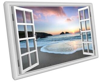 Window View Holywell Bay Beach near Newquay Seascape Art Ready to Hang X2388
