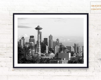Seattle Skyline Poster ~ Urban Photography Print ~ Black and White ~ Modern Home Decor ~ Printable Art ~ Digital Download ~ Digital Print