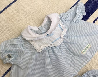 Vintage Cabbage Patch Kids Doll Clothes, Girls Blue Pinstripe Dress with Bloomers, Socks