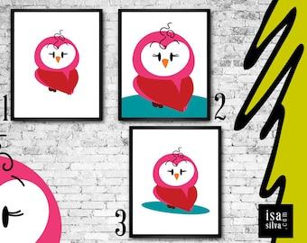 Owl * * Wall Print, illustration, nursery wall decoration, wall art, children wall art-owl-wall frame, children bedroom, decoration