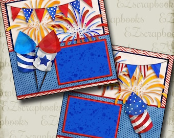 Fireworks - 2 Premade Scrapbook Pages - EZ Layout 2755